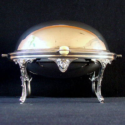 Antique Victorian Domed Roll Top Silver Plated Chafing Dish Wm. Hutton & Sons