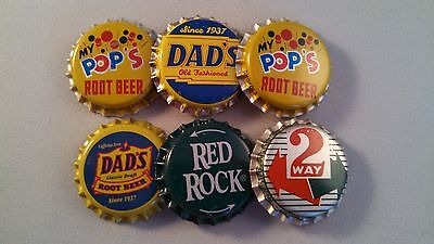"Lot Of 6 Plastic Lined Soda Pop Bottle Caps ""dad's, My Pop's, 2 Way, Red Rock"""