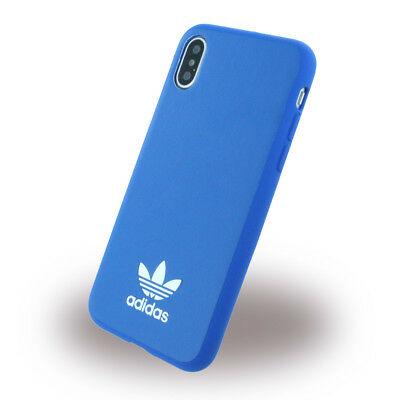 Adidas - Moulded - Kunstleder Hardcover - Apple iPhone X - Bluebird/Weiss