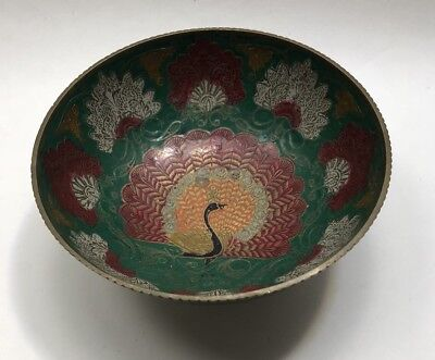 Vintage Asian Cloisonne Bowl With Peacock Brass Free Shipping