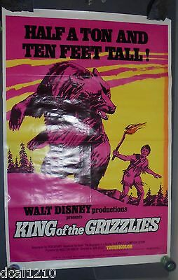 Walt Disney KING OF THE GRIZZLIES ORIGINAL 1970 ONE SHEET MOVIE POSTER