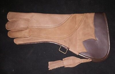 Eagle, Falconry & Owl Glove 3 Layers Nubuck Leather 16 Inch, Light Brown left