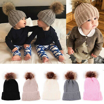Baby Boys Girls Warm Beanie Ski Hat Winter Knitted Wool Faux Fur Pom Bobble Hat