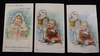 3 White Sewing Machine Trade Cards    #111701