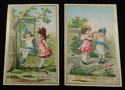 2 White Sewing Machine Trade Cards    #111702