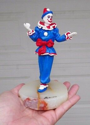 "Vintage 2005 Ron Lee Clown Red White & Blue 6 1/2"" Tall"