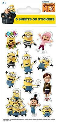 Despicable Me 3 Minions Stickers Party Pack of 6 Sheets - Party Bag Filler