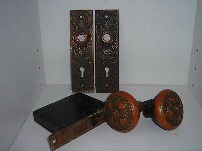 Antique Eastlake Doorknob Brass Bronze Ornate Hardware Lockset Plates Vintage