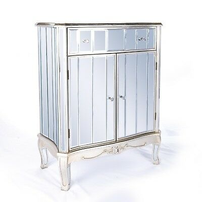 Argente French Mirrored Furniture Silver Gilt Leaf Cabinet with Drawer and Door