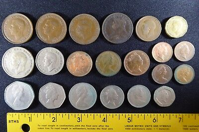 Large Lot 21 GREAT BRITAIN Coins 1900- Shillings Penny Pence Silver