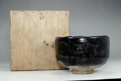 Antique kuro-raku tea bowl marked Konyu #2787