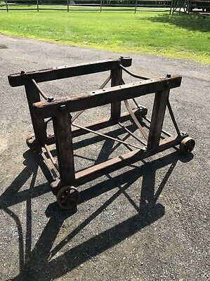Primitive Table Base Industrial Cast Iron Wood Wheels Rustic Patina Rare 48""