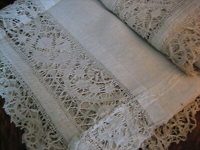 Mid 1800s Set of 4 Antique Linen & Lace Hand Sewn Curtain Panels 65Lx44W