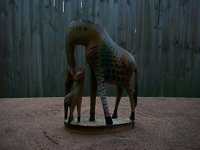 Hand Crafted & Painted African Muhuhu Wood Giraffe Sculpture Made in Kenya