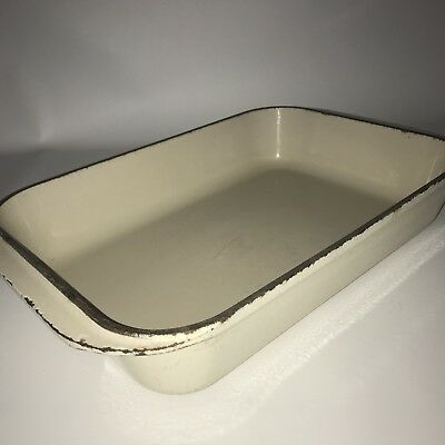 Le Creuset 40 Antique White Enamel on Cast Iron Lasagna or Roasting Pan Vintage