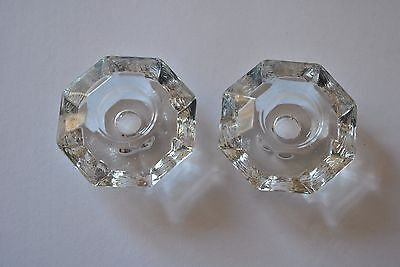 Set of 2 Vintage Cut Glass Tapered Candle Holders