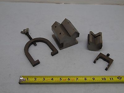 machinist toolmaker milling grinding set up  of v blocks  with clamps read