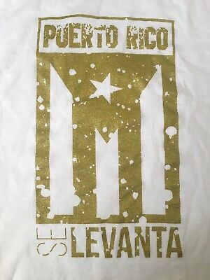 Puerto Rico Se Levanta White and Gold T shirt (Size Adult Small) Free Shipping