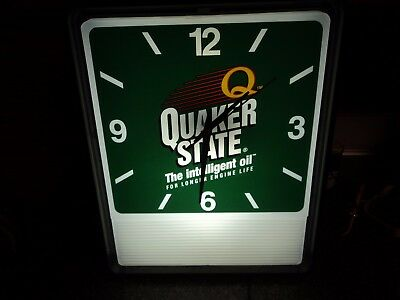 Quaker State Motor Oil Lighted Clock
