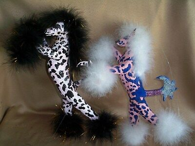 Set of TWO hairless Chinese Crested DOLL paper mache handmade mobile sculpture