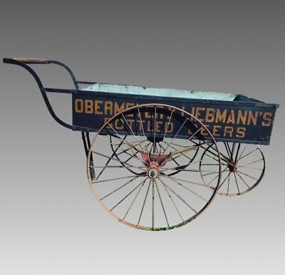 Antique Wooden Beer Delivery Cart Wagon New York 1800's Shipping Available