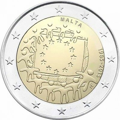 "2 Euro MALTA 2015 ""30 Jahre Europaflagge - 30 Years of the European Flag"", bfr"