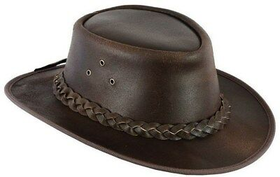 Leather Cowboy Western Aussie Style  Bush Hat Brown Waterproof Pulup1