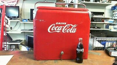1940s  COCA-COLA VINTAGE RED COOLER WITH WOODEN RACKS, PORTABLE, COLLECTIBLE