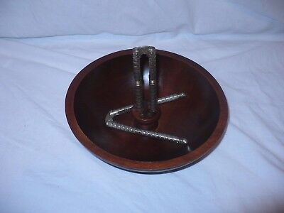 VINTAGE BARIBOCRAFT CANADA Teak Wood Nut Bowl With 2 metal nutcrackers