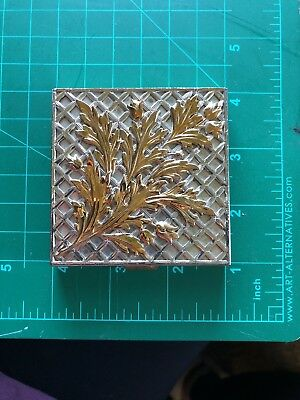 Antique Vintage Ladies Art Deco Volupte Floral Compact silver and gold tone