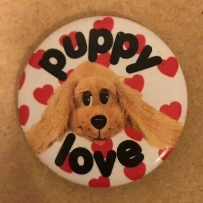 VINTAGE VALENTINES BUTTON PIN PUPPY LOVE DOG KITCHY KITCH 80s 90s 1980 1990