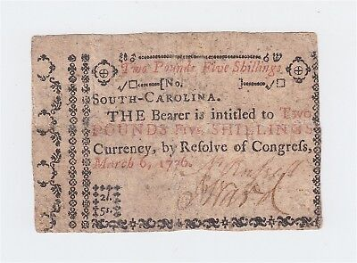 Colonial Currency 1776 South Carolina 2 Pounds 5 Shillings note / 2p 5s / bill