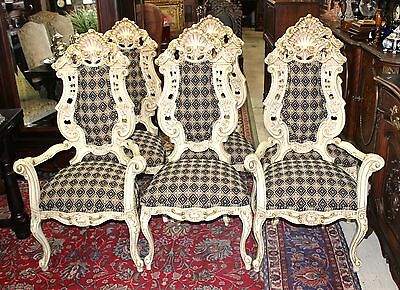 Gorgeous Italian Antique Carved White Painted Louis XV Set Of 6 Dining Chairs.
