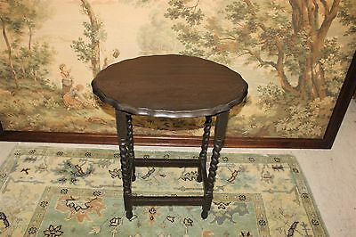 Beautiful Antique English Dark Oak scalloped Barley Twist Lamp Table /End Table.