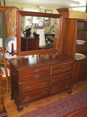 Solid Cherry Low Dresser with Mirror - #00489