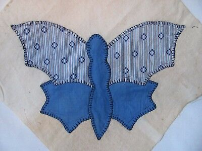 "BLUE BUTTERFLY QUILT BLOCK 11.5"" square HAND-Embroidered c1930-40's w/issues"