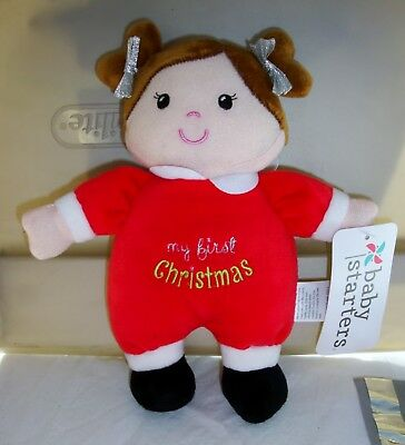 MY FIRST CHRISTMAS Red Baby Starters Doll with Rattle in Head $2.99 NWT