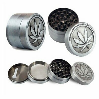 4Piece Leaf Metal Chromium Tobacco Herb Grinder Spice Herbal Alloy Smoke Crusher