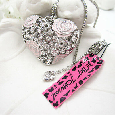 Betsey Johnson Flowers Crystal Love Heart Pendant Necklace Sweater Chain A125