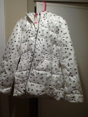 Crazy 8 Girls Puffer Hooded Coat White with silver stars New Size 10-12