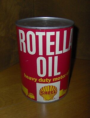 Vintage Shell Rotella Metal Motor Oil Quart Can Nos Full !! Vibrant Color