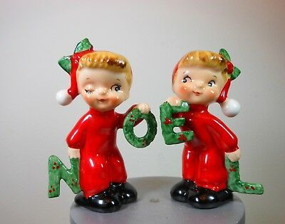 Vintage NAPCO Christmas Salt & Pepper Shakers - NOEL - Marked 1956 - foil tag