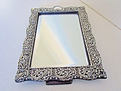 Embossed Sterling Silver Dressing Table Mirror..Hallmarked Birmingham 1907..