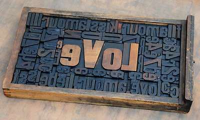"Collage ""LOVE"" made of letterpress wood type characters composition display"