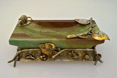 Antique Russian silver gilt and jasper ashtray