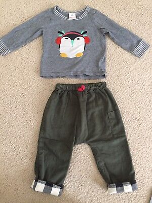 Hanna Andersson Boys Long Sleeved Penguin Shirt/Green Pants Outfit Size 85 (2T)