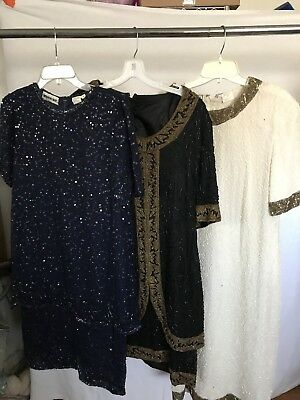 LOT of 3 vintage sequined dress RETRO
