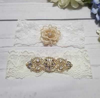 Wedding Bridal Garter - Crystal  Lace Garter Set Gold/Beige. Wedding Garter