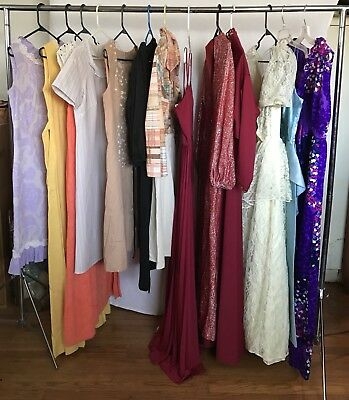 VINTAGE dress LOT 60s  70s  80s PARTY retro LACE satin