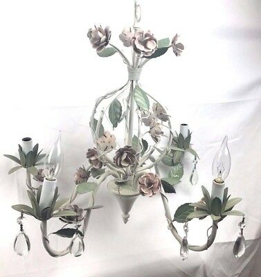 Shabby Chic Italian Tole Pink Roses Vintage Style Cage Chandelier Crystals